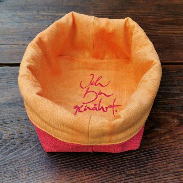 """Brotkörbchen """"Ich bin genährt"""" Himbeer/Orange"""
